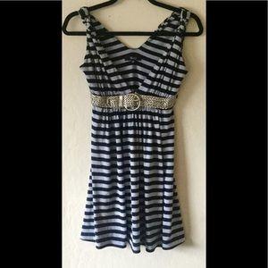 Sky Brand Black/Gray Stripe Dress with belt M